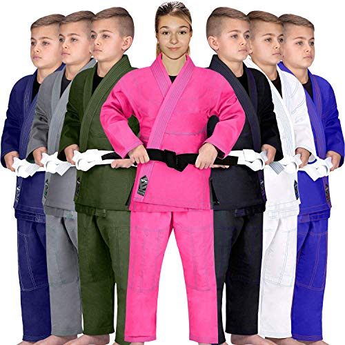 Elite Sports Kids BJJ GI, GIS for Youth Jiu Jitsu IBJJF Children's Lightweight Brazilian Jiujitsu Kimono W/Preshrunk Fabric & Free Belt (Pink, C3)