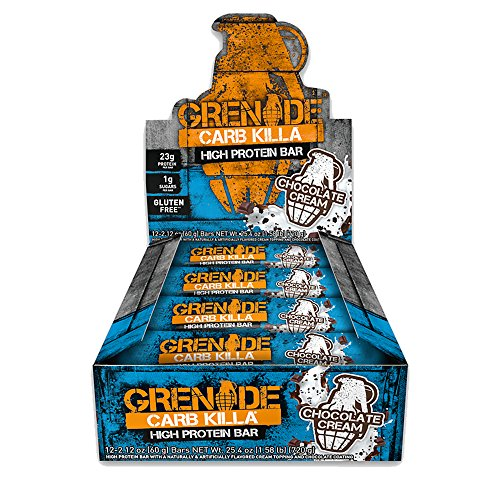 Grenade Carb Killa Protein Chocolate Bar | 23g High Protein Snack | Keto Friendly Low Net Carb Low Sugar | Gluten Free Nut Free Energy Bars | Chocolate Cream, 12 Pack