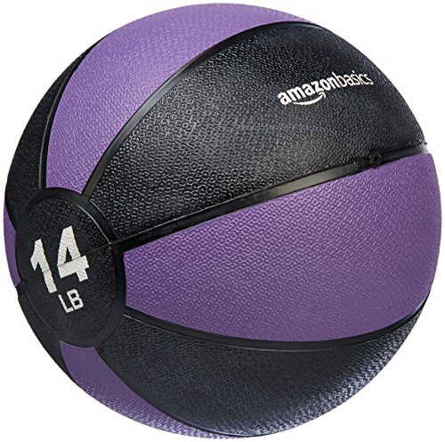 Amazon Basics Workout Fitness Exercise Weighted Medicine Ball - 14 Pounds, Purple and Black