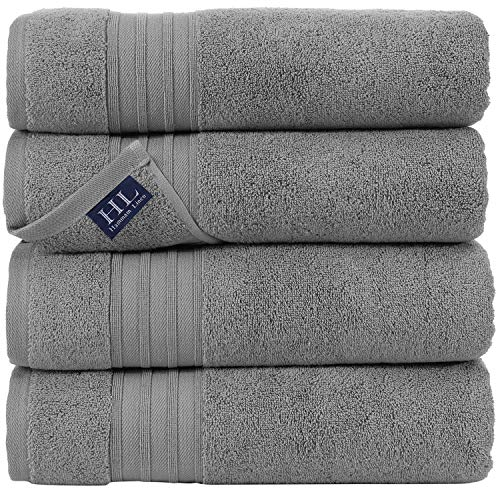 Hammam Linen 4 Piece Cool Grey Bath Towels 100% Cotton 27x54 Soft, Fluffy, and Absorbent, Premium Quality Perfect for Daily Use 100% Cotton Towel