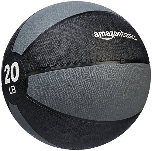 AmazonBasics Workout Fitness Exercise Weighted Medicine Ball - 20 Pounds, Grey and Black