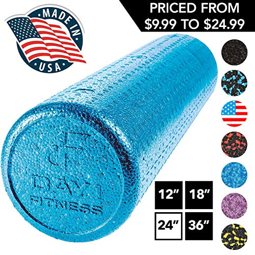 """High Density Muscle Foam Rollers by Day 1 Fitness - Sports Massage Rollers for Stretching, Physical Therapy, Deep Tissue, Myofascial Release - Ideal for Exercise and Pain Relief – Solid Blue, 24"""""""