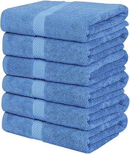 Utopia Towels Medium Cotton Towels, Electric Blue, 24 x 48 Inches Towels for Pool, Spa, and Gym Lightweight and Highly Absorbent Quick Drying Towels, (Pack of 6)