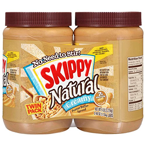 SKIPPY Creamy Natural Peanut Butter, 40 Ounce Twin Pack