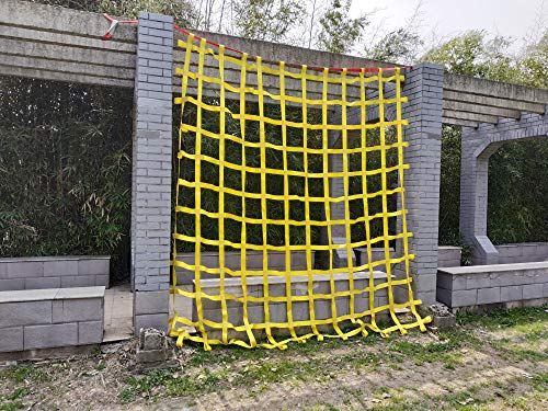 FONG 10 ft X 10 ft Climbing Cargo Net Heavy Duty Yellow (3m x 3m)- Military Climbing Net- Indoor Climbing Net - Outdoor Climbing Net - Jungle Gyms, Obstacle Courses - Both for Kids and Adult